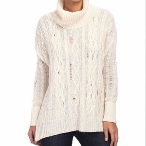 Free People Distressed Cable Knit Turtleneck
